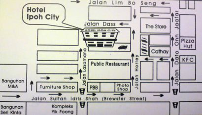Ipoh City Hotel Map